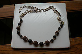 Old Vintage Signed LC Liz Clairborne Chunky Big Necklace Brown Knit Gold Black - $9.99