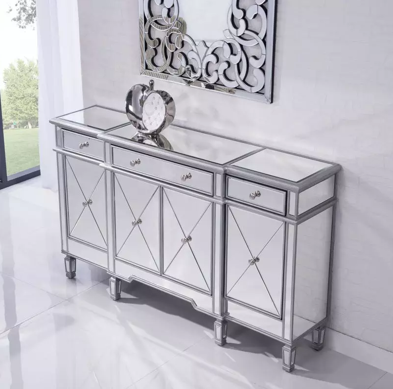 Buffet Table Server Sideboard Mirrored Cabinet Storage Drawers Doors China Home