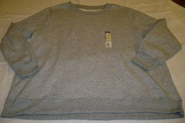 Terra & Sky Fleece Crew Long Sleeve Shirt Light Gray 4X 28-30W Generous Fit - $15.83