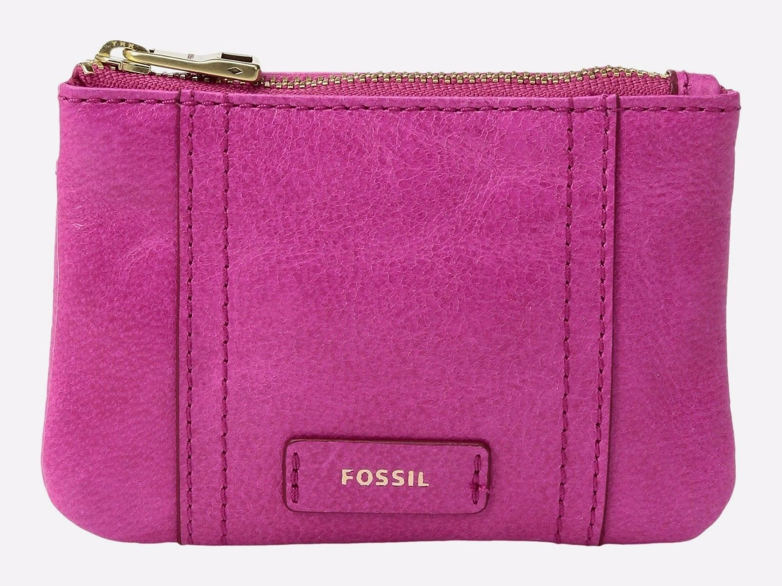 New Fossil Women's Emma Zip Leather Coin Wallet Hot Pink