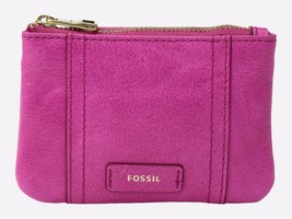 New Fossil Women's Emma Zip Leather Coin Wallet Hot Pink - $38.60