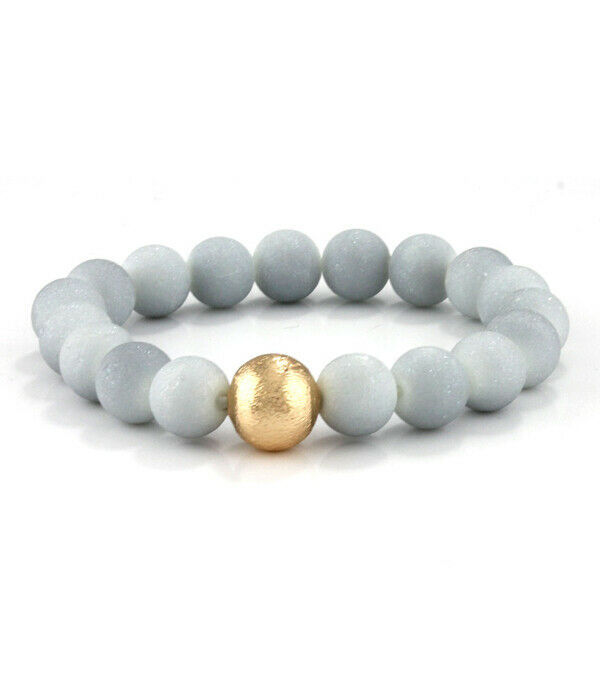 Primary image for Multi Stone Beads with Gold Ball Bangle Bracelet NEW