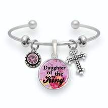 Daughter of the King Silver Cuff Bracelet Galatians 3:26 Scripture Jewelry Gift - $13.80