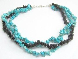 "Stunning Statement Triple Strand Faux Turquoise Black Onyx Necklace 19"" ... - $11.88"