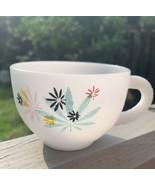 Vintage Federal Milk Glass Atomic Flower Design Coffee Tea Cup Mug Replacement - $9.85