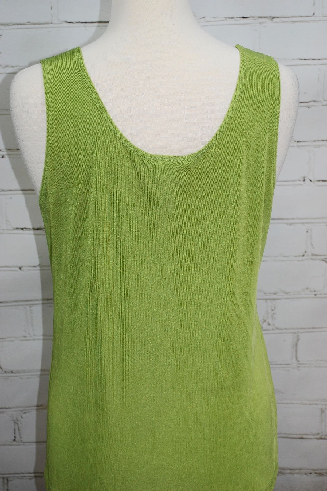 7957ab9f13a9e8 CHICO'S TRAVELERS Tank Top Shell Layering - Lime Green - Rib Knit Size  2/Large
