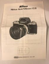NIKON NIKKOR AUTO 135mm f/2.8 LENS INSTRUCTION MANUAL 35mm SLR CAMERAS - $18.80
