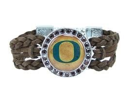Oregon Ducks Braided Brown Leather Crystal Bracelet Jewelry Green UO Gift - $9.89