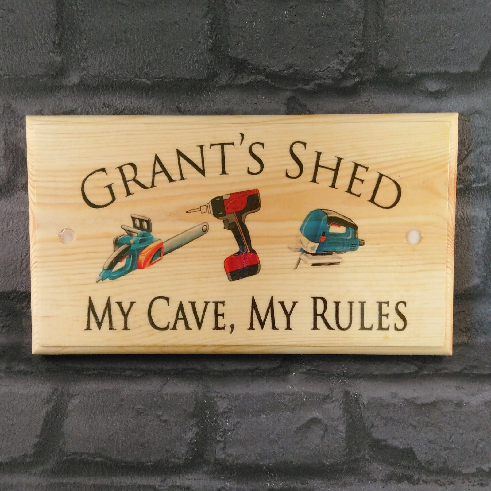 Primary image for Large Personalised Shed Plaque / Sign - My Cave, My Rules Workshop Dad Grandad