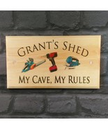 Large Personalised Shed Plaque / Sign - My Cave, My Rules Workshop Dad G... - $19.09