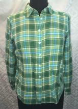 Talbots Womens S Petite Green Blue Plaid Button Down Shirt SP Top Blouse - $18.16