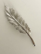 Vintage Trifari Feather Silver Tone Designer Signed Costume Brooch Pin J... - $21.99