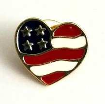 Patriotic Collectible Avon Pin Heart Shaped US American Flag Enamel Pin ... - $5.57
