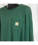 Carhartt 3xl Tall Mens Green Long Sleeve Tee Shirt w Pocket Work Carpenter - $33.99