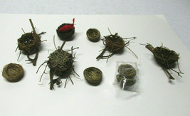 Vintage wood bird nest craft lot set mushroom bird red cardinal - $19.79