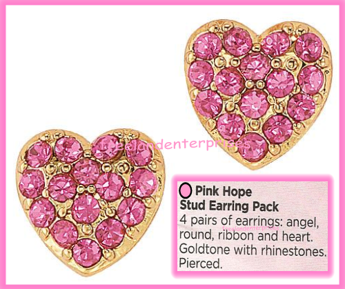Breast Cancer Pink Hope Stud Earring Pack fo Four Goldtone Earrings 2018 image 8