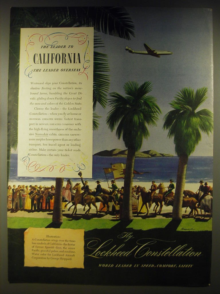 1946 Lockheed Constellation Advertisement - art by George Sheppard - $14.99
