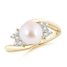 Solitaire Cultured Akoya Pearl Diamond Ring 14k Gold/Silver - $722.36+