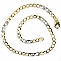 18K YELLOW WHITE GOLD BRACELET 3 MM, 7.9 INCHES, ALTERNATE GOURMETTE AND SQUARE image 2