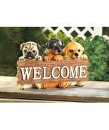 PUPPY DOG WELCOME SIGN Shelf Tabletop Indoor Outdoor Decor - $20.89