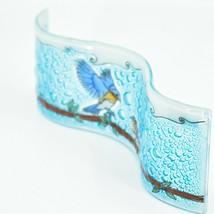 Fused Art Glass Bluebirds Birds on Branch Wavy Sun Catcher Handmade Ecuador image 2