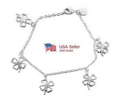 Shamrock Charm Bracelet Sterling  Silver Plated 4 Leaf Clover & Gift Box... - $14.80