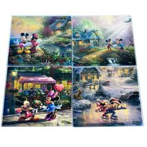 Thomas Kinkade Mickey & Minnie Sweethearts Prints 4 Pc Fused Glass Coaster Set image 6