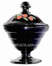 Black Glass Footed Powder Jar Depression Glass Candy Jar - $14.99
