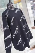 100% AUTHENTIC JACQUERED KNIT BALENCIAGA PARIS BLACK LOGO SWEATER SZ 40 image 4