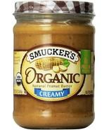 Smucker's Organic Creamy Peanut Butter, 16 oz,3 pk (Glass Jars) Exp. Dat... - $25.20