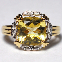 Natural Lemon Citrine Topaz Solitaire Ring Women Yellow Gold Sterling Si... - $79.00