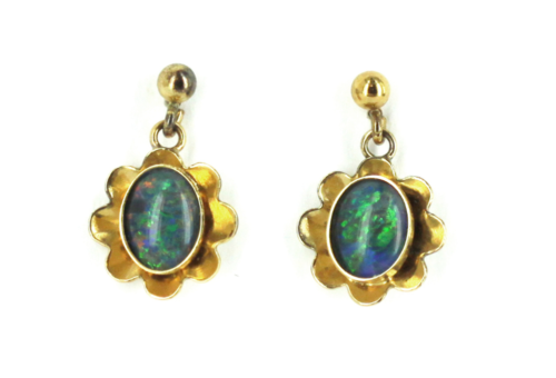Primary image for Vintage 12K GF Australian Black opal Doublet Dangle Drop Post Earrings 1950's