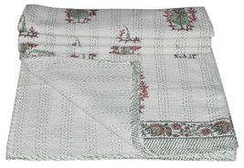 Indian Ethnic Floral Kantha Bedding Queen Quilt Reversible Vintage Ralli... - $59.81
