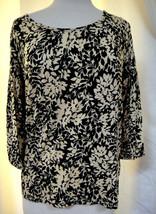 TALBOTS Black & Cream Pullover Knit Top Floral Vine Rayon Blend 3/4 Slee... - $14.69