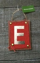 Wooden Monogram Letter E Burlap Wall Sign Hanging Twine Decor Ornament New - $14.00