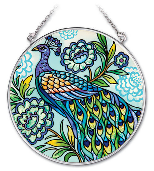 "Decorative Peacock Sun Catcher AMIA Blue Hand Painted Glass 4.5"" Round Bird New"