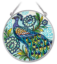 "Decorative Peacock Sun Catcher AMIA Blue Hand Painted Glass 4.5"" Round B... - $19.79"