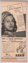 Arrid deodorant Jessica Dragonette '40s PRINT AD singer radio star vinta... - $7.84