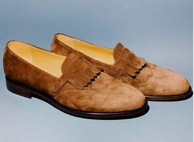 Men Suede Leather Classical Premium Brown Moccasin Loafer Slip On Handmade Shoes