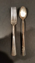 Antique teaspoon and fork - Vernon Silver Plate - 1939 Romford - $7.00