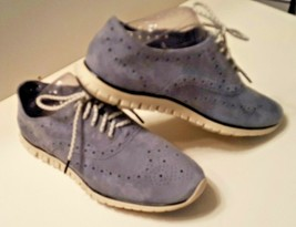 Women's COLE HAAN ZERO GRAND Gray Suede Wingtip Oxford Lace Up Shoes Siz... - $34.99