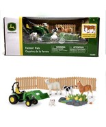 John Deere Tractor Farm Animal Toy Play Set Farmin' Pals Green White Yel... - $39.59