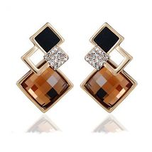 New Popular Crystal Earrings Fashion Geometric Rhinestone Gemstone Studs 2018 image 10