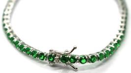 925 Silver Tennis Bracelet, Green Cubic Zirconium 3 mm, length 18 cm image 2