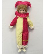 VINTAGE INTERPUR INTERNATIONAL 15309 STRIPED  PORCELAIN JESTER CLOWN DOL... - $18.99