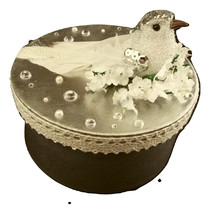Jewelry Storage Silver Decor Box white Bird Flower Nest Diamond Lace Rib... - $29.99