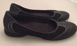 Easy Spirit Black Ballet Flats White Stitching Leather Suede Sz 7 Walkin... - $13.99