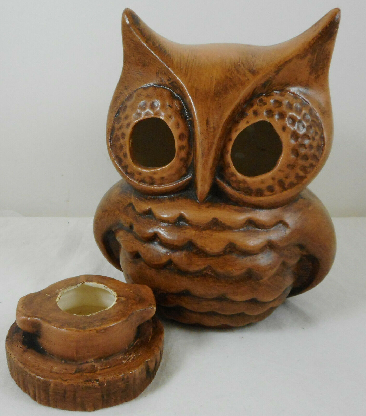 "Vintage Ceramic Owl Candlestick Holder 6"" Tall Brown Figurine"