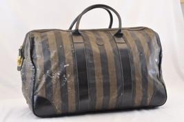 FENDI Pequin Nylon Boston Bag Black Brown Auth 5841 - $150.00