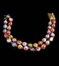 Vintage millefiori bracelet - glass paperweight  - vintage Hand knotted ... - $145.00